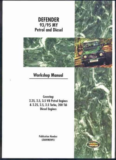 Land Rover Defender Petrol Diesel 1993 1995 Service Repair Manual with Supplements   Brooklands Book