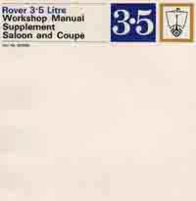 Rover 3.5 Saloon Coupe P5 Workshop Manual Supplement   Brooklands Books Ltd UK