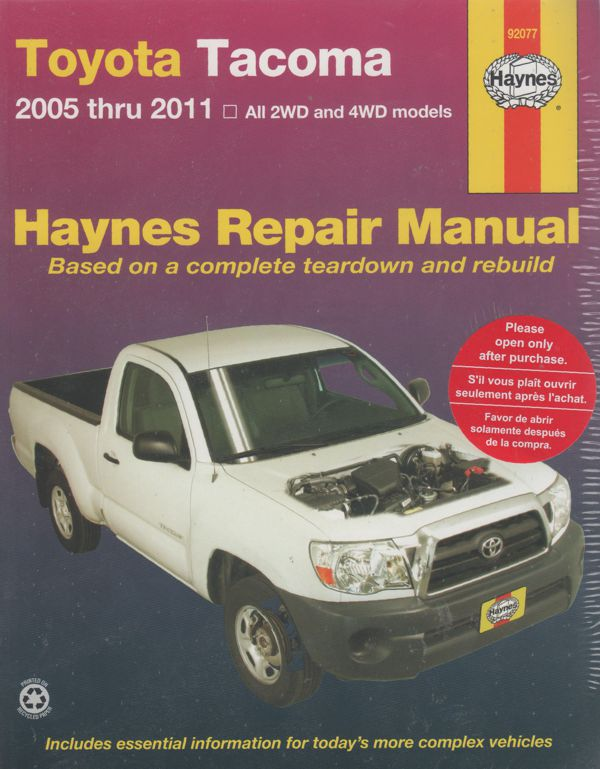 Toyota Tacoma 2005-2011 Haynes Workshop Repair Manual